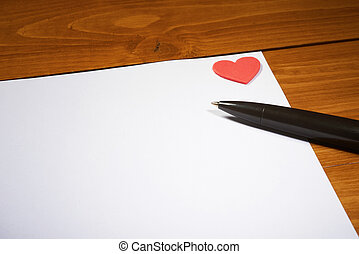 branca, papel, para, st, valentine, dia
