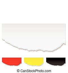 branca, papel, rasgado, borda
