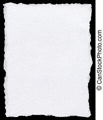 branca, papel rasgado, página, isolado, ligado, um, pretas,...