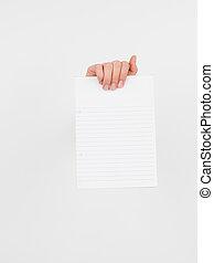 branca, papel, segurando, mão feminina