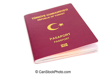 branca, passaporte, fundo, turco