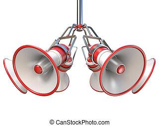 branca, penduradas, 3d, vermelho, megafones