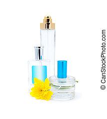 branca, perfumes, garrafas, fundo