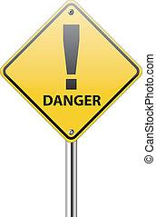 branca, perigo, sinal tráfego