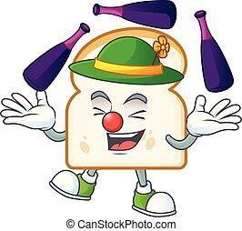 branca, personagem, fatia, pão, caricatura, juggling