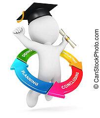 branca, pessoas, 3d, aprendizagem, ciclo