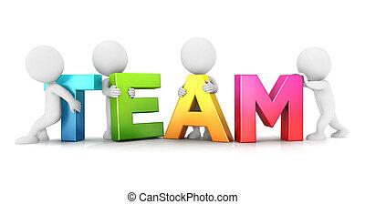 branca, pessoas, 3d, equipe
