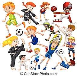 branca, pessoas, fundo, tipos, esportes, diferente