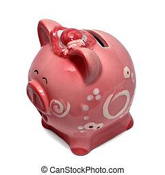 branca,  piggy, banco, isolado