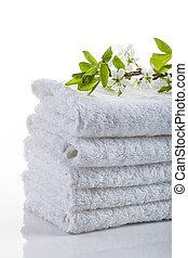 branca, pilha, toalhas