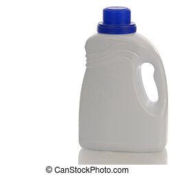 branca, plástico, detergente, garrafa, com, reflexão, branco, fundo
