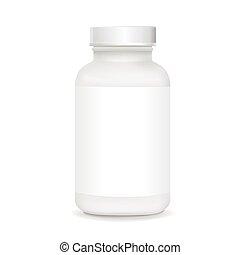 branca, plástico, médico, recipiente