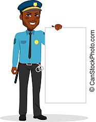 branca, policia, segurando, tábua