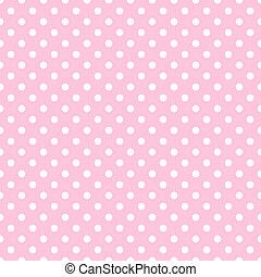 branca, pontos polka, ligado, pálido côr-de-rosa