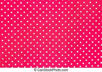 branca, pontos polka, ligado, vermelho, fabric.