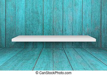 branca, prateleira, com, antigas, azul, madeira, interior,...