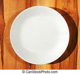 branca, prato jantar, ligado, madeira, tabela