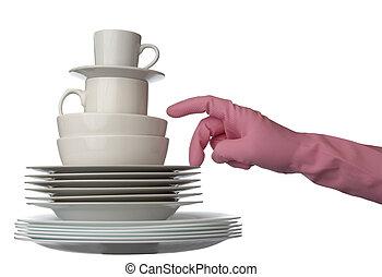 branca, pratos, cozinha