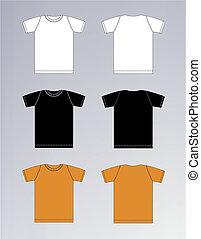 branca, pretas, camiseta alaranjada, desenho