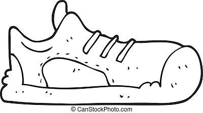 branca, pretas, caricatura, sneaker
