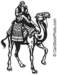 branca, pretas, cavaleiro, camelo
