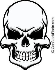 branca, pretas, crânio humano, eerie