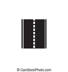 branca, pretas, estrada, fundo, ícone