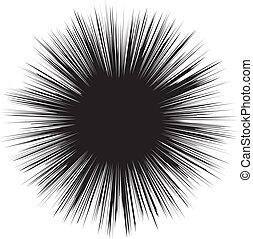 branca, pretas, explosão, ilustração, hole., vetorial, experiência.