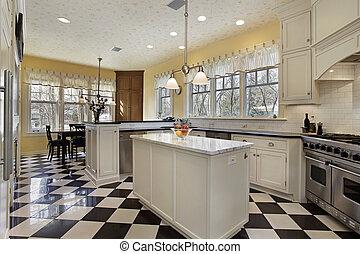 branca, pretas, pavimentando, cozinha