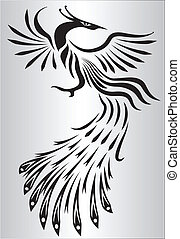 branca, pretas, phoenix, ilustração