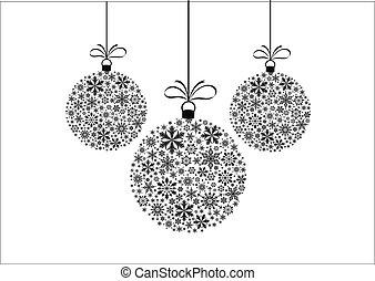 branca, pretas, snowflakes