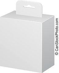 branca, produto, pacote, caixa, com, enforcar, slot., em branco, branco, fundo, isolated., escarneça, cima, modelo, pronto, para, seu, design., produto, embalagem, vetorial, eps10