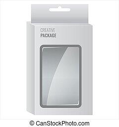 branca, produto, pacote, caixa, com, janela., ilustração, isolado, vetorial