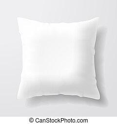 branca, quadrado, travesseiro, em branco