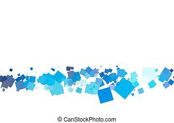 branca, quadrados, experiência colorida