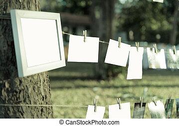 branca, quadro, foto, em, dia casamento