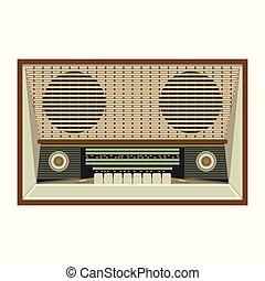 branca, rádio, retro, fundo, receptor