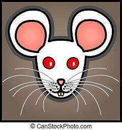branca, rato, caricatura