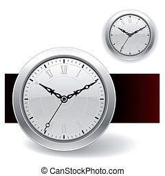 branca, relógio, ícones