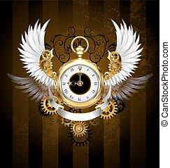 branca, relógio, asas, ouro