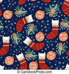 branca, repetindo, flowers., seamless, decoração, azul, padrão, vetorial, natal, fundo, crianças, gatinhos, embalagem, green., gatos, vermelho, tecido, escandinavo, envoltura presente, feriado, estilo, meias