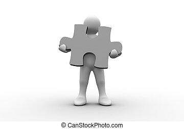 branca, representação humana, segurando, quebra-cabeça