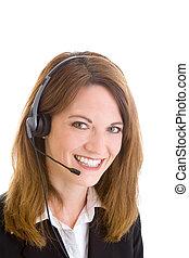 branca, representante serviço cliente, mulher, headset