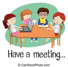 branca, reunião, tendo, pessoas experiência