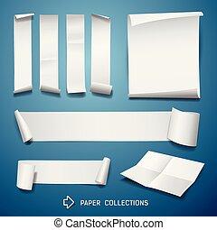 branca, rolo papel, coleções, para, negócio, desenho