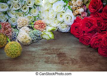 branca, rosas, e, flores, buquet, decoração, cima, madeira, tabela, com, livre, espaço, fundo