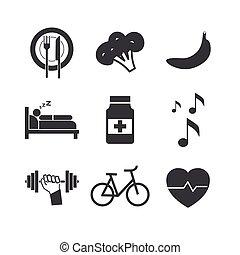 branca, saúde, fundo, ícones