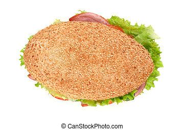 branca, sanduíche, isolado