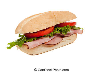 branca, sanduíche, presunto, submarino