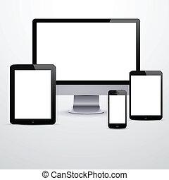branca, screens., eletrônico, dispositivos, em branco